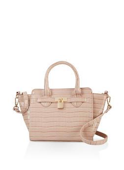 Faux Croc Lock Detail Crossbody Handbag - 3124074391996