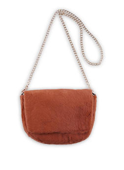 Faux Fur Chain Strap Crossbody Bag - 3124074392144