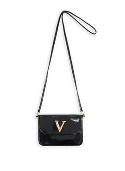 Faux Patent Leather Crossbody Bag - 3124074394634