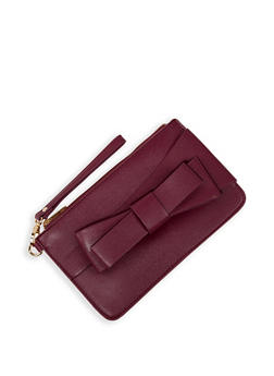 Faux Leather Bow Clutch - 3124074398038