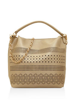Laser Cut Faux Leather Hobo Bag - 3124074399024