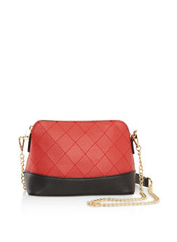 Quilted Faux Leather Crossbody Bag - 3124074399075