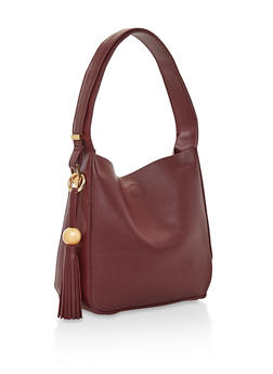 Faux Leather Hobo Bag - 3124074399082