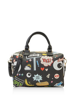 Faux Leather Graphic Bowler Bag - 3124074399083