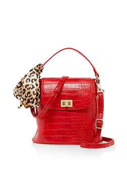 Embossed Faux Leather Bucket Crossbody Bag - 3124074399933
