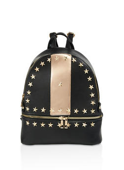 Star Studded Faux Leather Backpack - 3124074501241