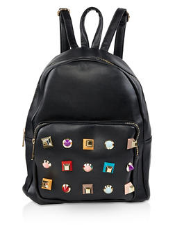 Geometric Studded Faux Leather Backpack - BLACK - 3124074501711