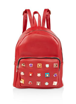 Geometric Studded Faux Leather Backpack - RED - 3124074501711