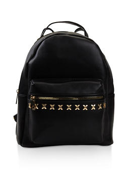 Studded Faux Leather Backpack - BLACK - 3124074502041