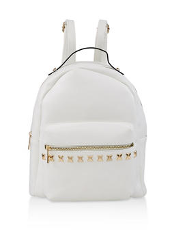 Studded Faux Leather Backpack - WHITE - 3124074502041