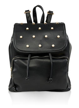Faux Pearl Studded Backpack - BLACK - 3124074506041