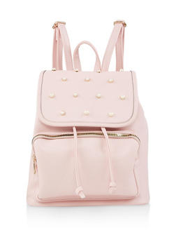 Faux Pearl Studded Backpack - BLUSH - 3124074506041