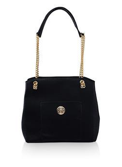 Chain Strap Faux Leather Shopper Bag - 3124074509053