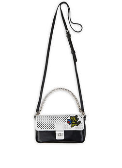 Floral Patch Perforated Faux Leather Crossbody Bag - 3124075500216
