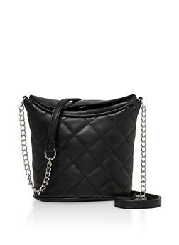 Quilted Crossbody Bucket Bag - 3124075501152