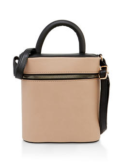 Small Top Handle Crossbody Bucket Bag - 3124075502766