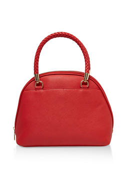 Woven Handle Faux Leather Handbag - 3124075508833