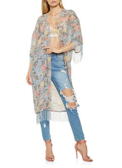 Floral Fringe Kimono - 3125018430188