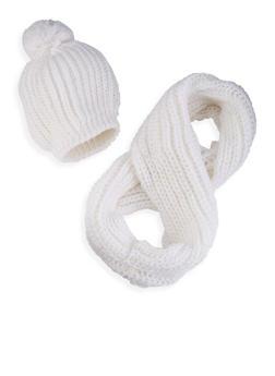 Cable Knit Infinity Scarf with Pom Pom Beanie - WHITE - 3125042740002