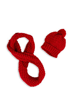 Textured Knit Beanie and Infinity Scarf Set - 3125042740011