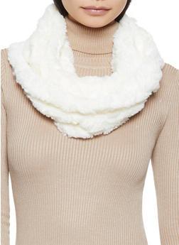 Heart Faux Fur Infinity Scarf - WHITE - 3125042740019