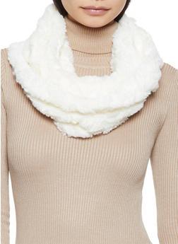 Faux Fur Infinity Scarf - WHITE - 3125042740022