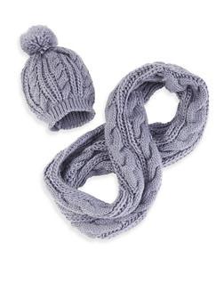 Cable Knit Infinity Scarf with Pom Pom Beanie - GRAY - 3125042740418