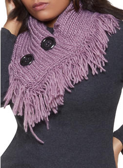 Two Button Knit Infinity Scarf - 3125042740618