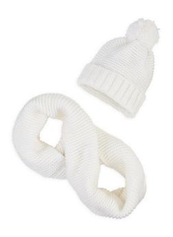 Knit Scarf and Pom Pom Beanie Set - 3125042741011