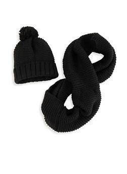 Knit Pom Pom Beanie and Infinity Scarf - 3125042741550