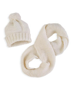 Knit Pom Pom Beanie and Infinity Scarf - WHITE - 3125042741550