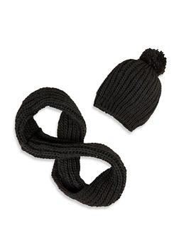Knit Pom Pom Beanie and Infinity Scarf - 3125042742220