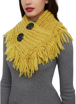 Two Button Fringe Infinity Scarf - 3125042746189