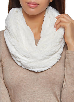 Faux Fur Infinity Scarf - IVORY - 3125067440626