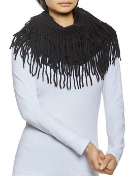 Perforated Knit Infinity Scarf - BLACK - 3125067440701