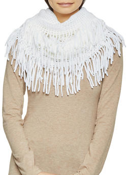 Perforated Knit Infinity Scarf - WHITE - 3125067440701