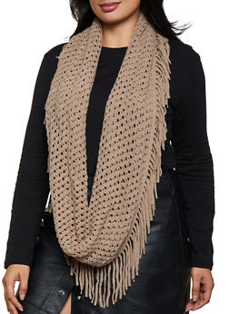 Perforated Fringe Infinity Scarf - 3125067441108