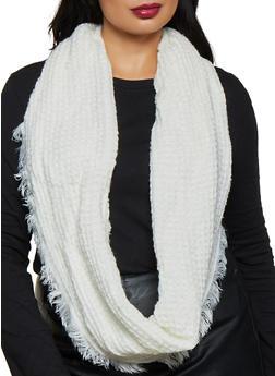 Frayed Knit Infinity Scarf - 3125067442079