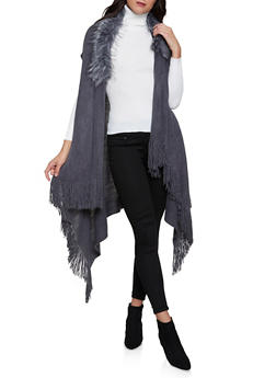 Faux Fur Collar Fringe Vest - 3125067442200