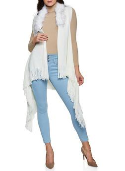 Faux Fur Collar Fringe Vest - 3125067442200