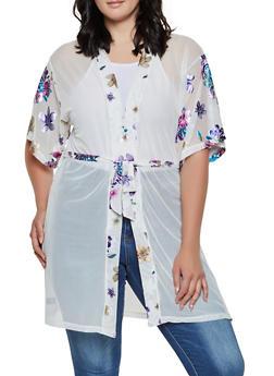 Foil Floral Mesh Kimono - 3125067442290