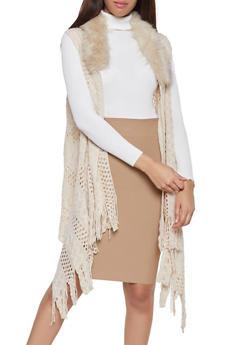 Faux Fur Collar Knit Flyaway Vest - 3125067443806