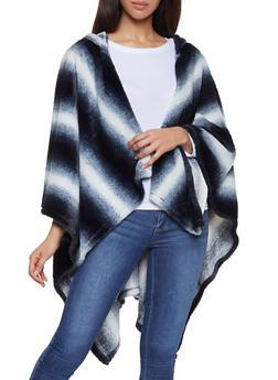 Striped Faux Fur Hooded Shawl - 3125067443807