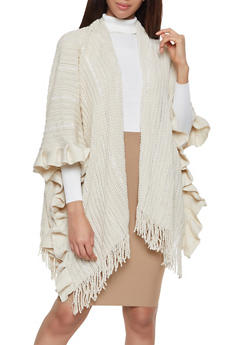 Ruffle Trim Sequin Knit Shawl - 3125067443808