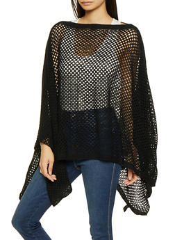 Perforated Knit Poncho - BLACK - 3125067443809