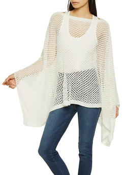 Perforated Knit Poncho - IVORY - 3125067443809