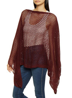 Perforated Knit Poncho - WINE - 3125067443809