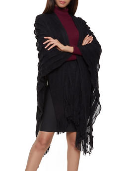 Pleated Knit Shawl - BLACK - 3125067443812