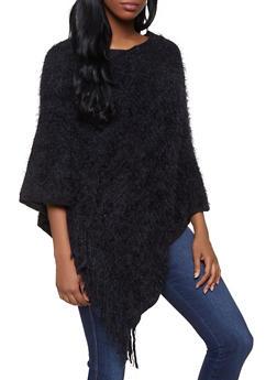Feathered Knit Fringe Poncho - 3125067443814