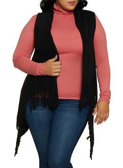 Knit Fringe Vest - 3125067443911